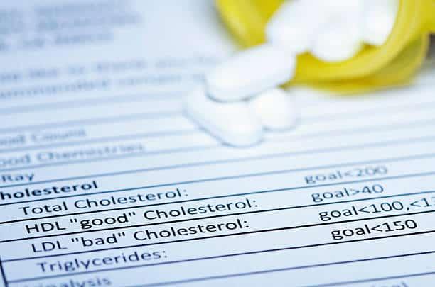 Fiche médicale résultat analyse sanguine avec mention cholestérol HDL et LDL